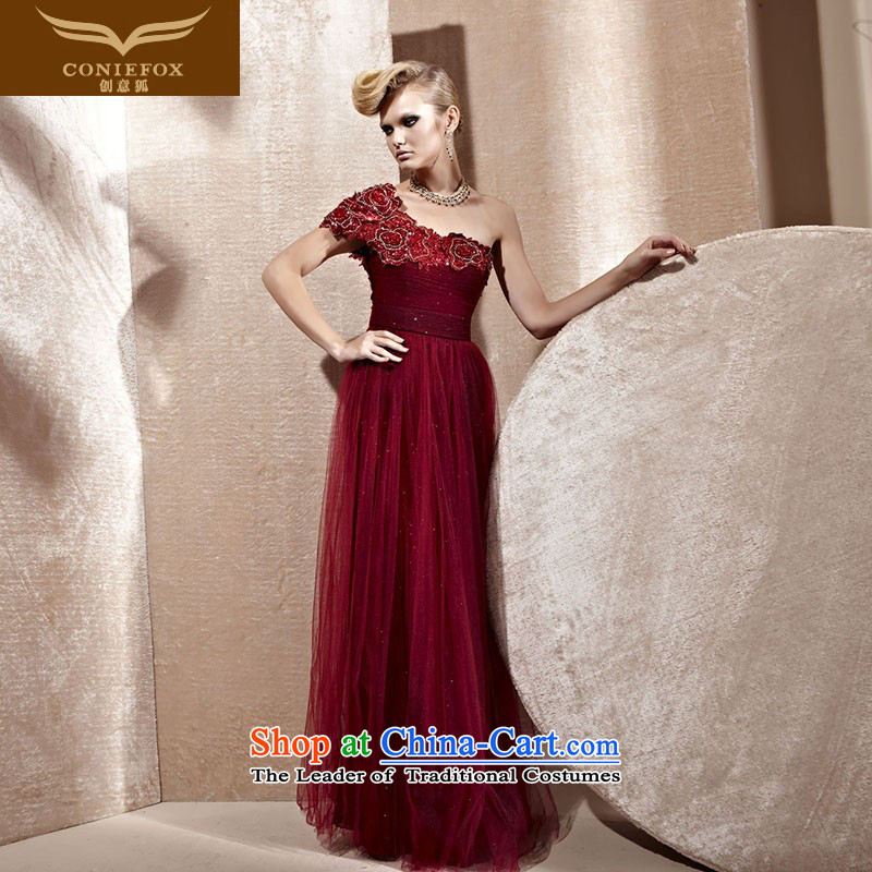 Creative Fox evening dresses wine red shoulder wedding dress banquet evening dresses bows service long gown 80956 dance performances Sau San deep red聽S