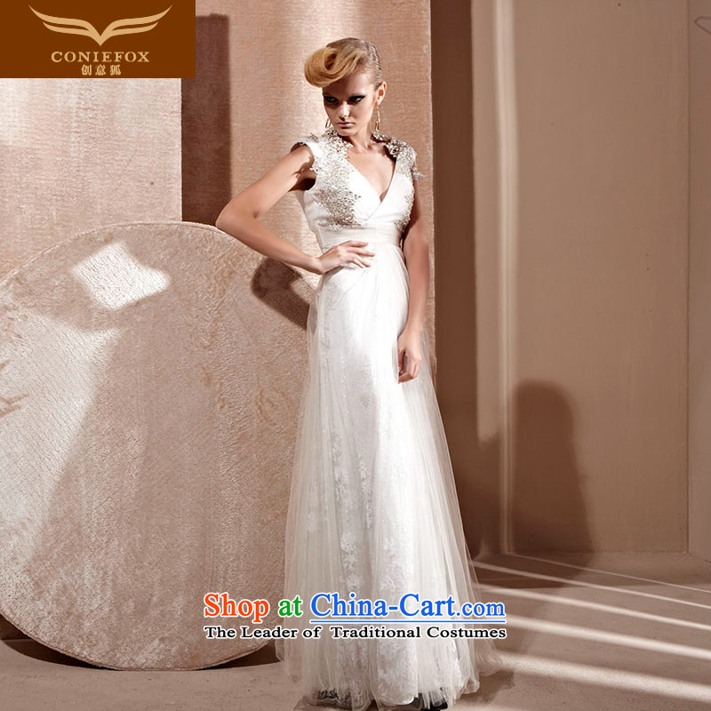 Creative Fox evening dress white wedding dress Deep v-neck bride wedding dress banquet services under the auspices of the annual bows dress 80991 white?S