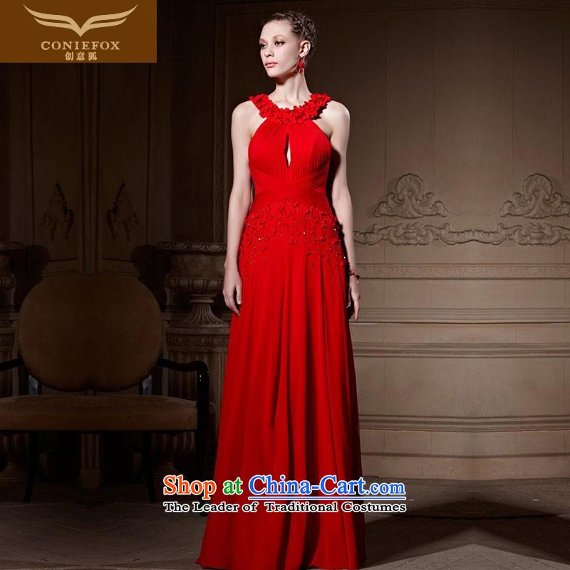Creative Fox tailored evening dresses new romantic evening dress parquet Sau San long red bride wedding dress evening drink81622 servicestailored color picture