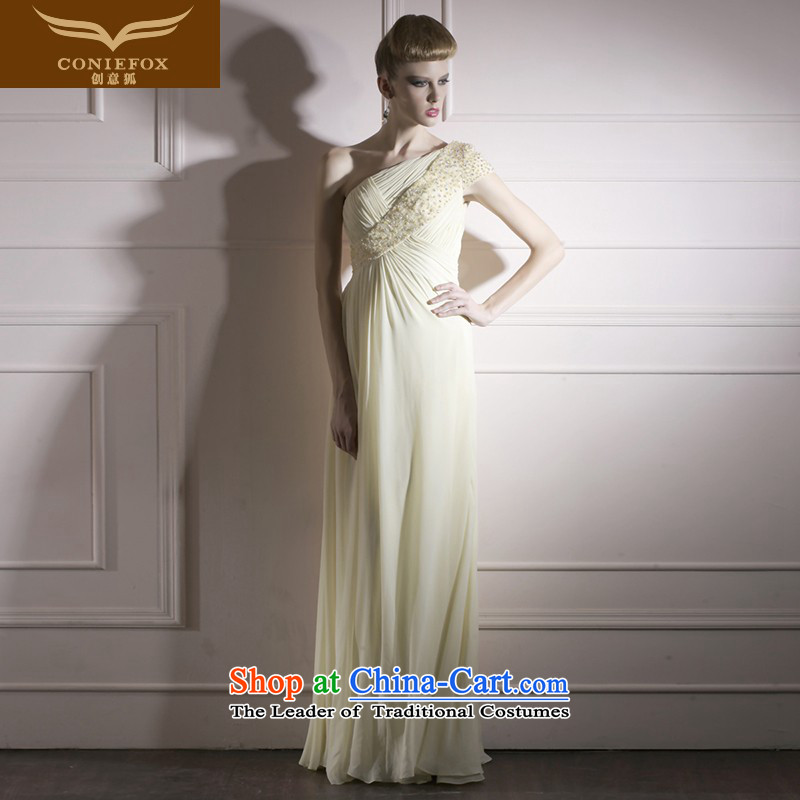 Creative Fox evening dress pale yellow wedding dress photo building photography wedding dress long evening elegant banquet dress dresses 80955 S Light Yellow
