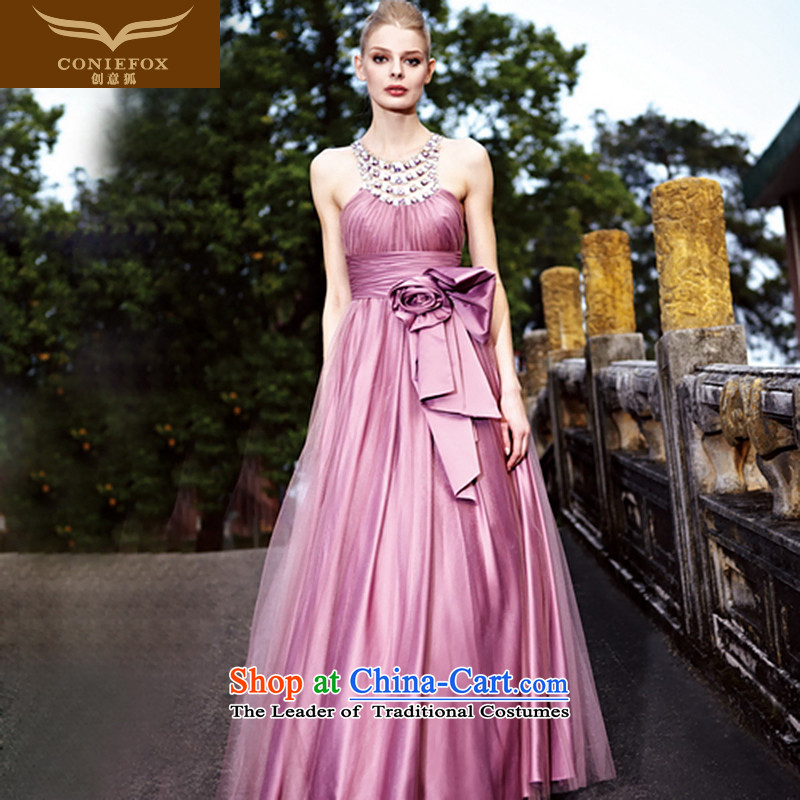 Creative Fox evening dresses purple elegant bride wedding dress banquet evening drink served long Sau San evening dress skirt will?80191?purple?XL