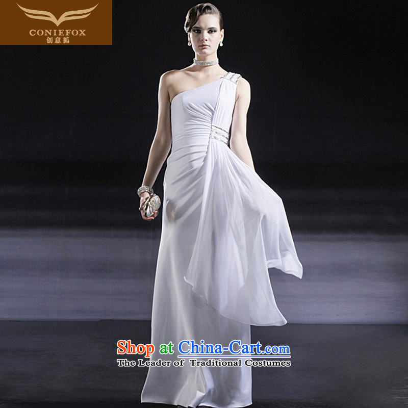 Creative Fox white shoulder wedding dresses Bridal Services Booking wedding dress toasting champagne evening banquet hosted dress will install long skirt 56628 White XL