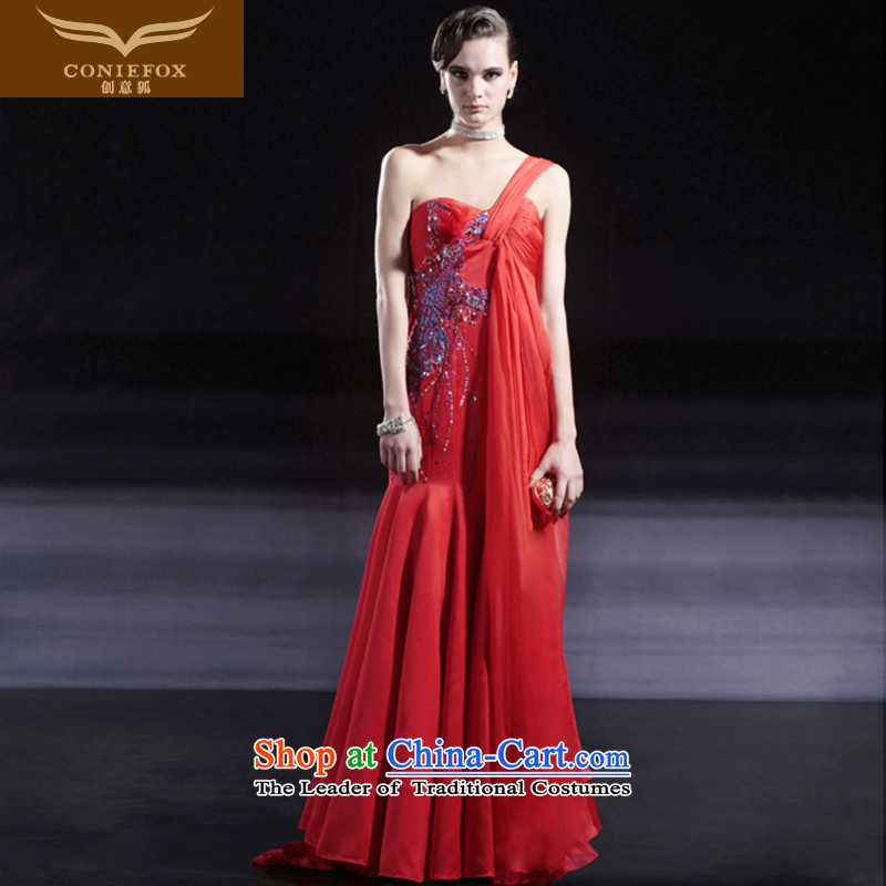 Creative Fox evening dresses red bride wedding dress banquet bows shoulder long serving under the auspices of the annual dress dresses 56301 Red?XL