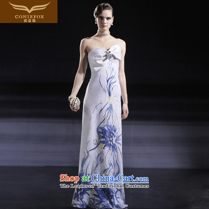 Creative Fox evening dresses sheikhs wind wiping the chest long evening dress banquet dress cheongsam wedding dress female annual dress dresses 56631 White聽M