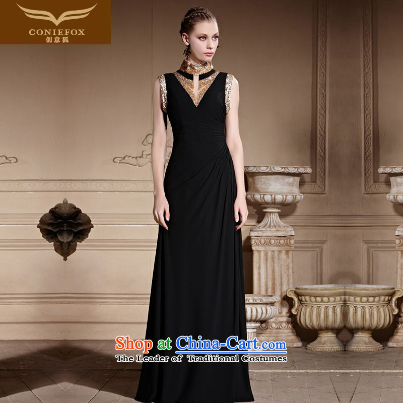 Creative Fox tailored evening dresses new shining bright chip collar dress banquet black dress moderator evening dresses dressesFederation 81,823tailored color picture