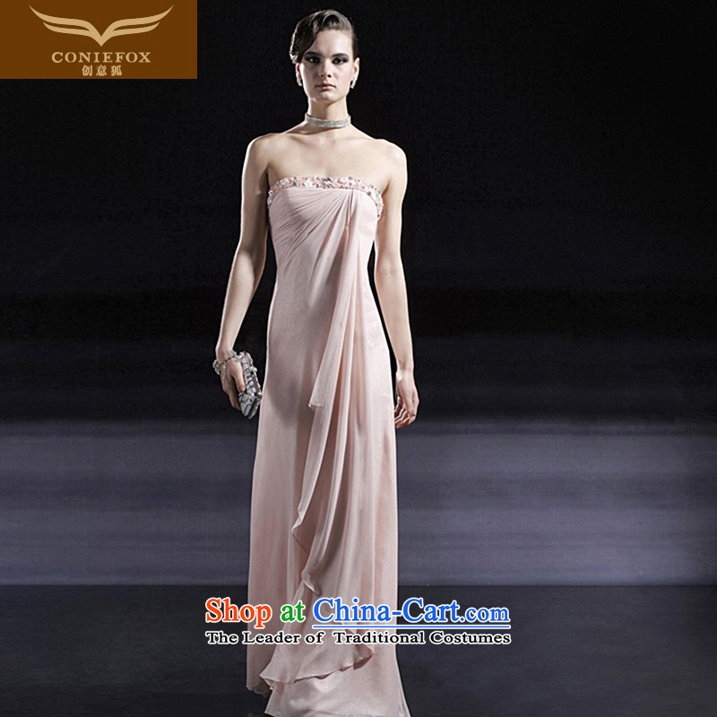 Creative Fox evening dresses and chest evening banquet dress dresses marriages bows dress elegant long thin bridesmaid dresses Graphics 56655 pink?XXL