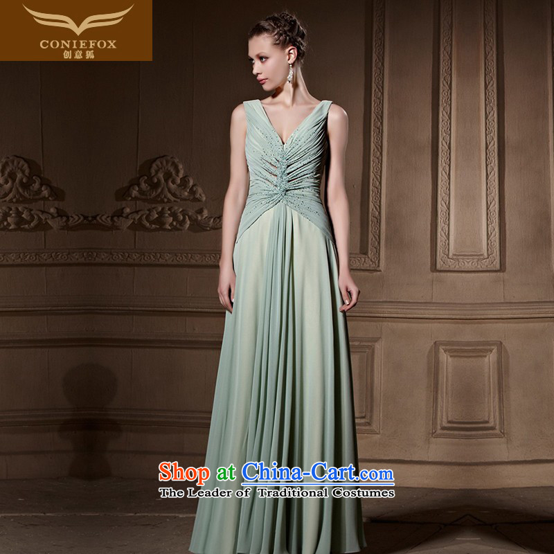 Creative Fox tailored evening dresses and sexy V-Neck long evening dress banquet dress video thin dresses Female dress 82015 annual picture color tailored