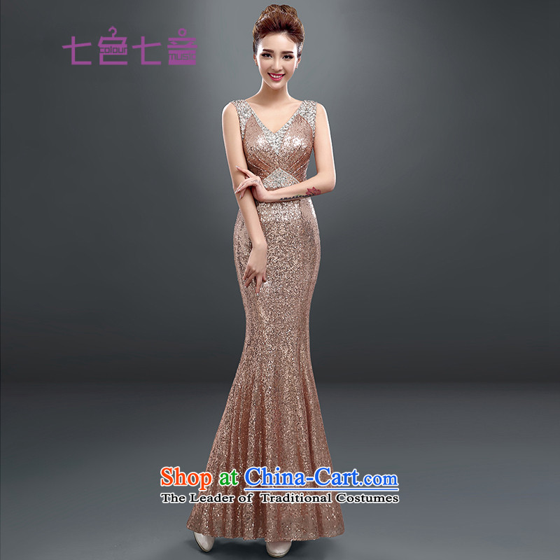 7 Color 7 tone Korean New long thin film on the video   dress bride bows services under the auspices of the annual sexy crowsfoot long evening dresses�L021�meat pink tailored (does not allow)