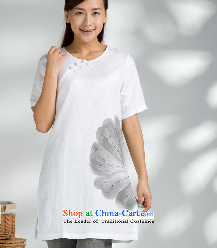 Cotton linen fabrics - Import Lotus ink ethnic issue short-sleeved T-shirt?YZS692-104?short-sleeved white?M