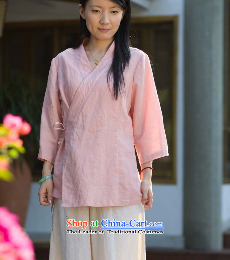 Cotton linen garments - Original Design washable ramie vegetable dyed pink shirt YD081-166 Chinese聽M
