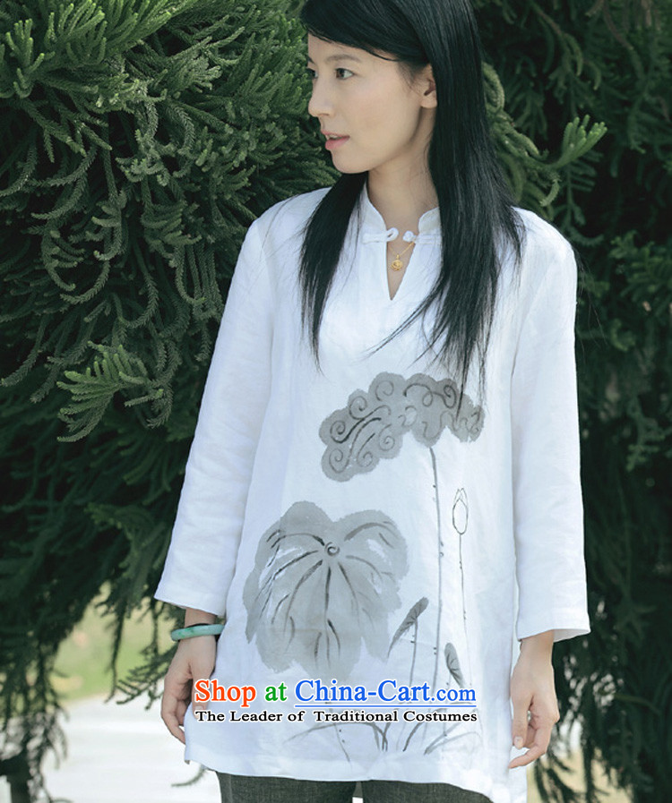 Hand-painted cotton linen collar - Disk detained Chinese Women's Long ethnic t-shirt_long white long-sleeved_ yzs690-104 _S
