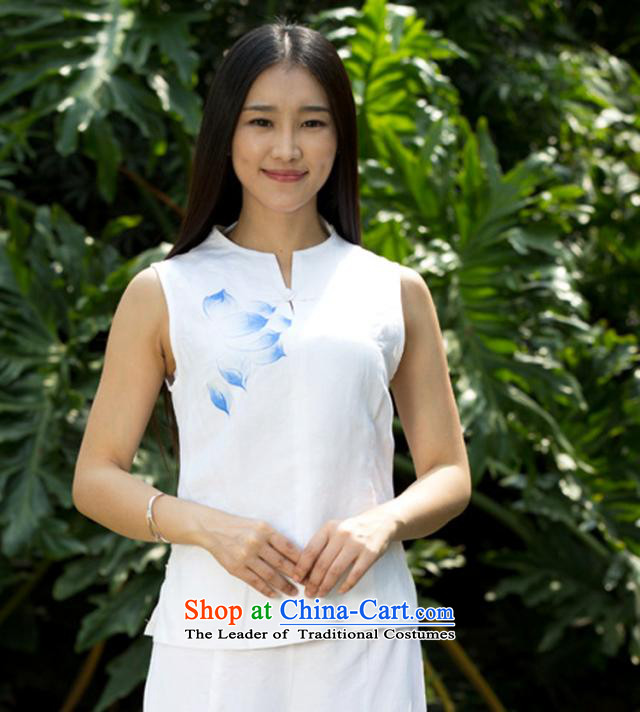 Cotton linen - Summer New Product Ramp Flap Disc Tang dynasty detained women's sleeveless hand-painted white YZS606 Lotus (5 days Shipment?XL