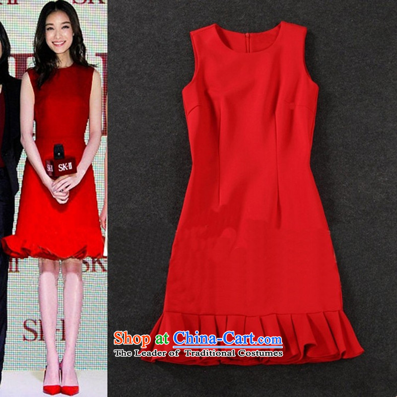 Load New autumn 2015 Skirt stars of the same Korean red sleeveless tank dresses dress PETTICOAT field skirt crowsfoot skirt RED?M