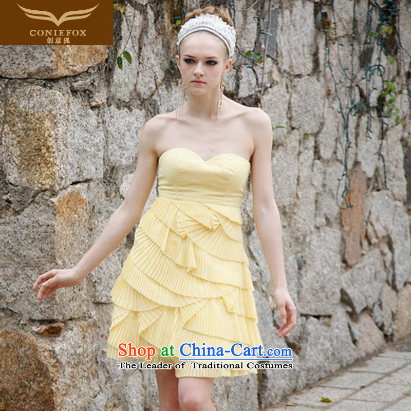 Creative Fox evening dresses and short of chest sweet bon bon skirt banquet hosted dress stage performances services birthday party gatherings dress evening 80281 Yellow聽XL