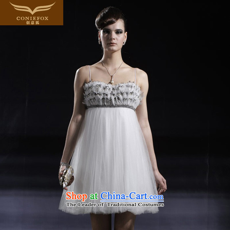 Creative Fox Evening Dress Short of small dresses banquet theatrical services under the auspices of the annual dress short skirt sweet sister evening dress skirt birthday 80906 white聽L