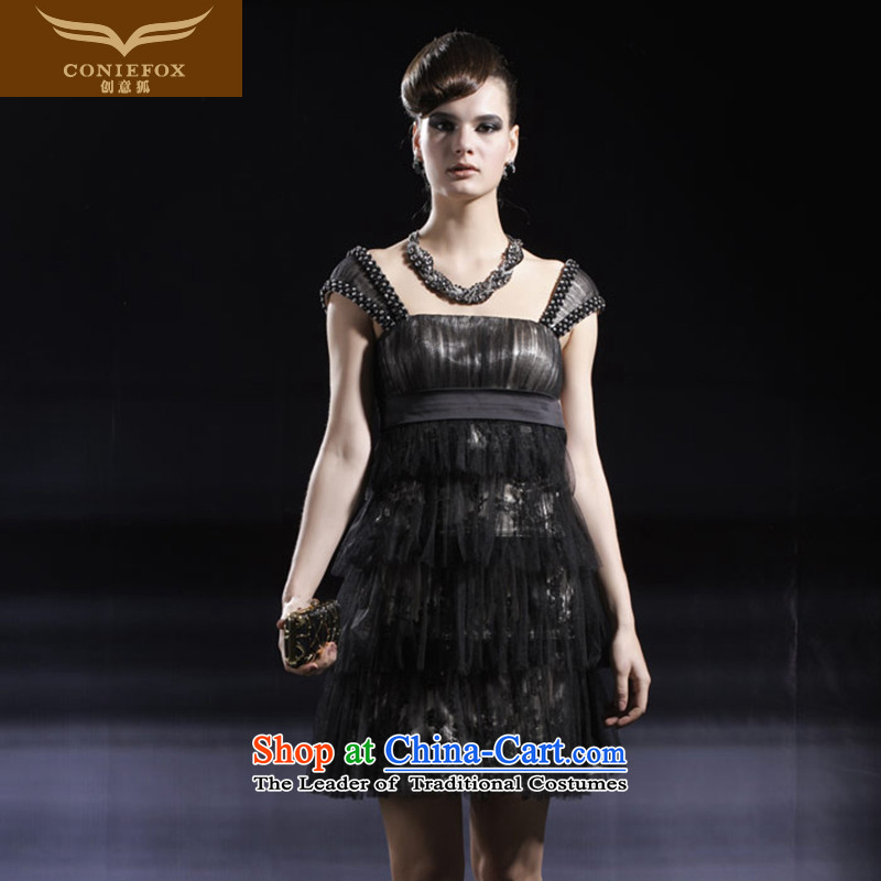 Creative Fox evening dress short black dress, banquet small dress stage performances under the auspices of serving short skirt party gatherings dress skirt sister replacing 80920 Black聽S