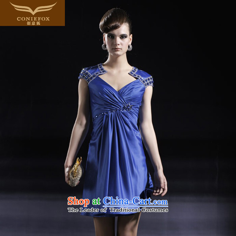 Creative Fox evening dress short in a small stylish banquet dress Sau San package bridesmaid dress skirts shoulder birthday party dress moderator dress 80918 blue?S