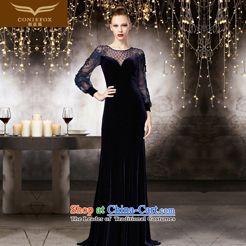 Creative Fox tailored dress a long-sleeved blue dress autumn and winter banquet service long fall arrester bows to the annual meeting of the chairpersons dress long skirt 30831 picture color tailored