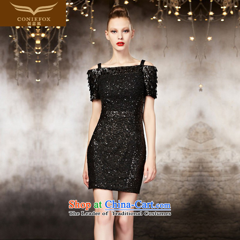Creative Fox tailored small DressShort of 2015 New evening dresses black Sau San strap evening banquet dress short skirt 30886 picture color tailored