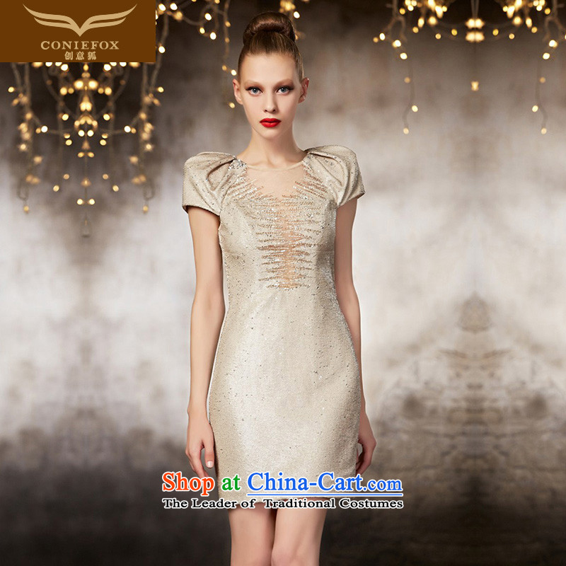 Creative?New high-2015 FOX side custom Dress Short of Sau San temperament small dress bridesmaid dress sister service banquet dress skirt 82060 tailored color picture