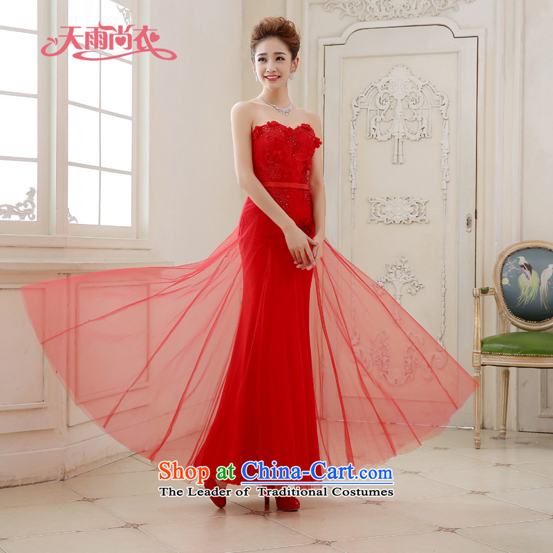 Rain-sang yi bride Wedding 2015 new red anointed chest Diamond Video thin red hotel bows long skirt the marriage door dress LF211 RED?L