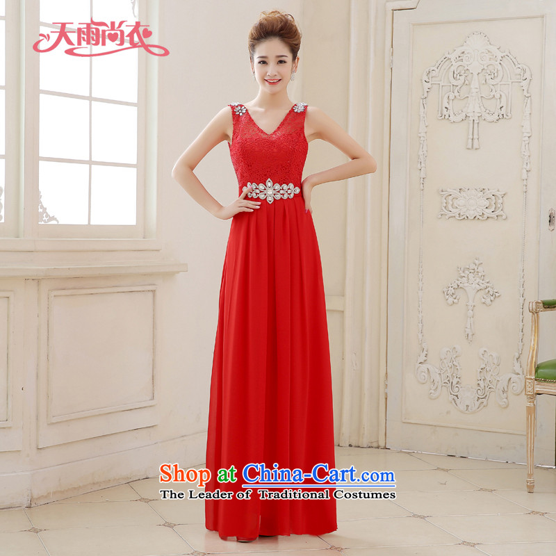 Rain Coat bridal dresses yet 2015 new red elegant shoulders V-Neck lace Diamond Video thin red hotel bows frockcoat LF210 marriage red tailored does not allow