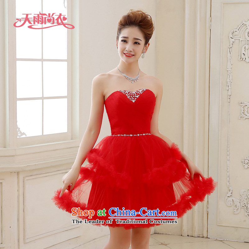 Rain-sang Yi marriages red wedding dresses new short, stylish celebration photo building performance stage photography bon bon princess skirt LF212 RED?XL