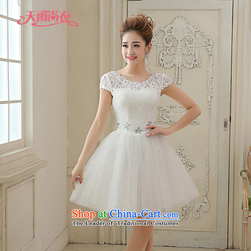 Rain was short of Yi marriages small wedding 2015 new white video thin lovely bridesmaid short skirt diamond strap lace dress LF209 white tailored does not allow