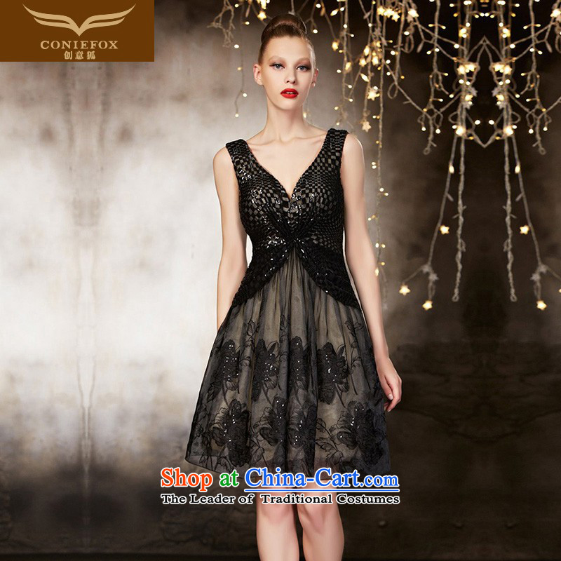 Creative Fox tailored dress stylish black V-Neck short of dress banquet bows bridesmaid dress skirts services under the auspices of the annual session of 82103 dress tailored color picture