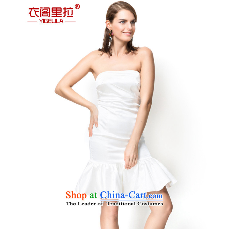 Yi Ge lire aristocratic elegance and chest crowsfoot billowy flounces dresses banquet hosted performances bridesmaid dress skirt white 6756 S