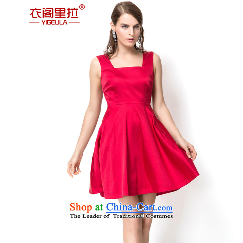 Yi Ge lire large red sexy back banquet will stretch dress on silk and cotton bride bows evening dress skirt rocketed to 6,765 families exited S