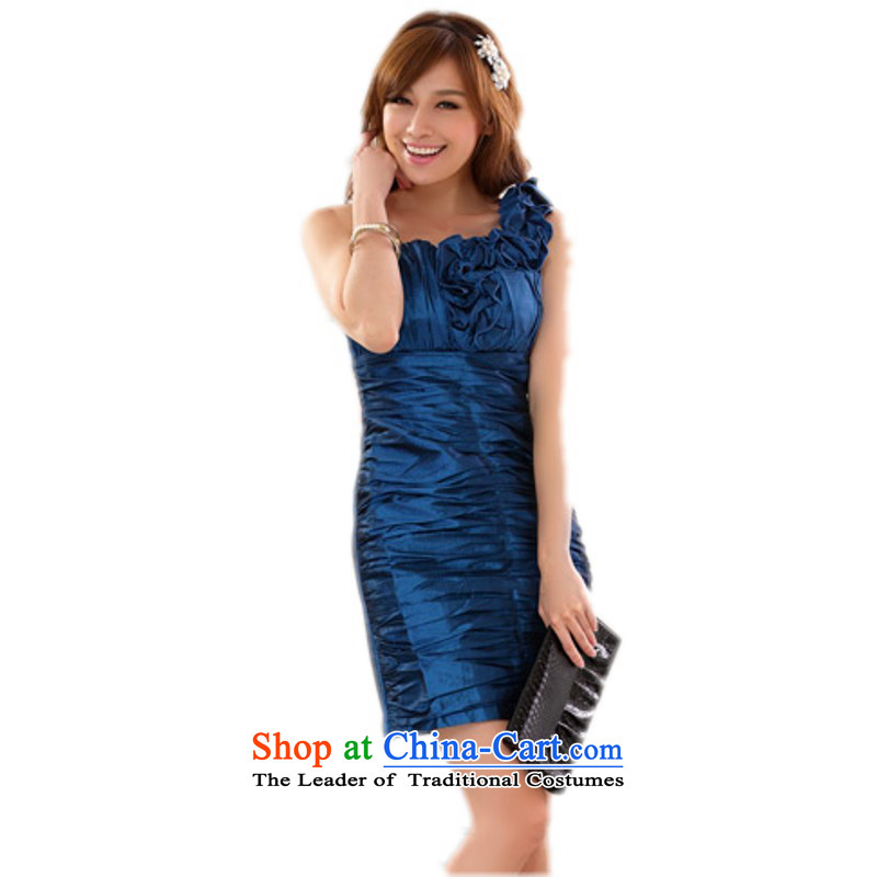 C.o.d. Package Mail xl new stylish evening shoulder sister skirt dinner appointment Sau San your abdomen and package dress dresses video thin small blue dress?L annual?about 110-120 catty