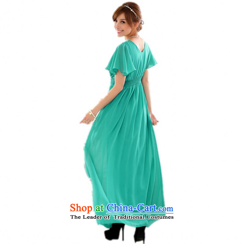 C.o.d. Package Mail xl new ultra short-sleeved reset manually staple pearl V-Neck chiffon annual meeting, Chairman of Night Gown dresses thick mm chiffon skirt?around 120-140 catty green XL