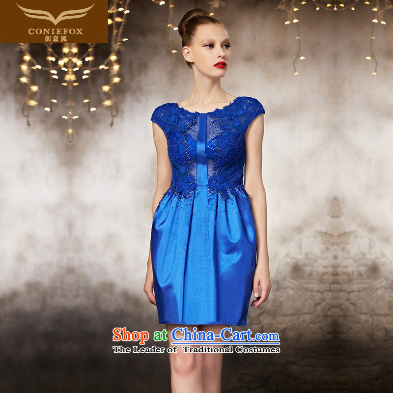 The kitsune short of creative dress blue dress Foutune of Sau San small bridesmaid dress skirt banquet evening drink service moderator dress tailoring 82186 picture color tailored