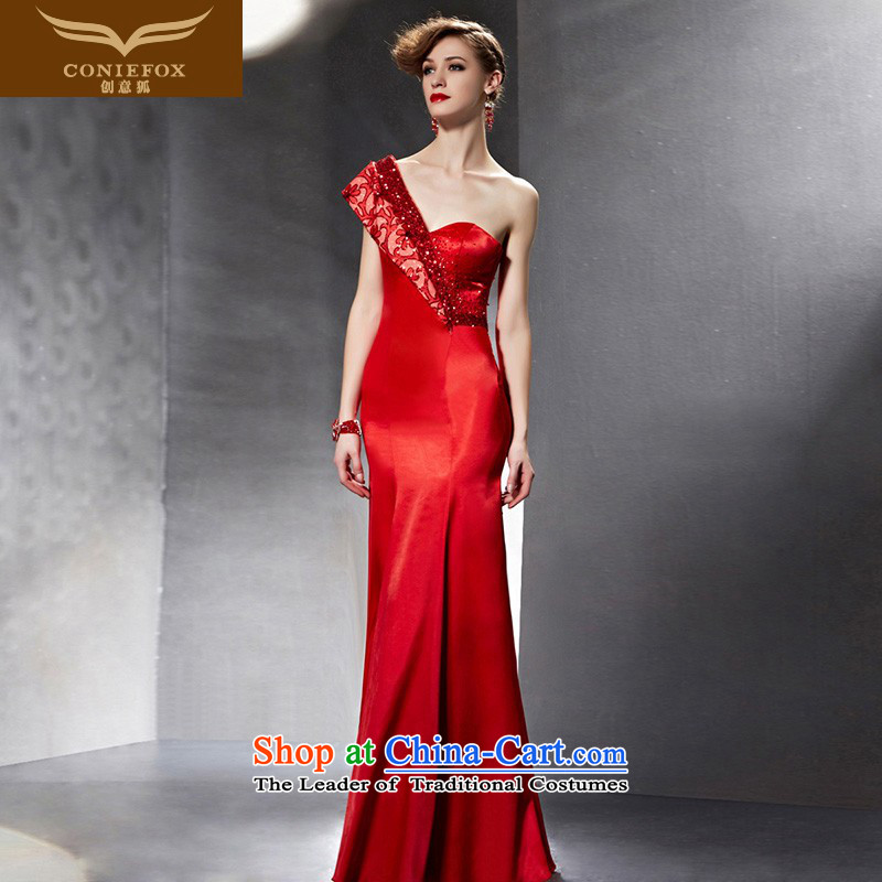 Creative Fox evening dresses?2015 new red bride wedding dress banquet bows dress long to Sau San shoulder evening dress the highest with 30,625 patients followed picture color?S