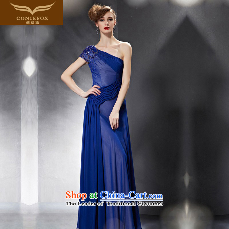 Creative Fox evening dresses�2015 new graphics thin blue dress bride wedding dress long single shoulder evening drink service under the auspices of dress 30639 picture color�XXL