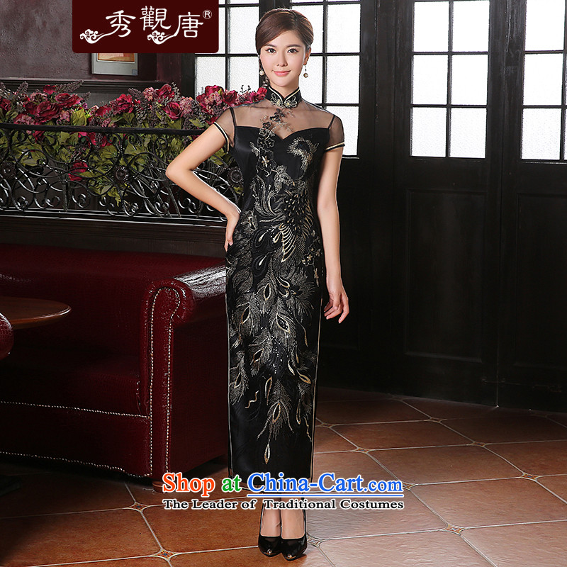 [Sau Kwun Tong] Bong-seal of the forklift truck qipao�2014 new evening lace sexy dress skirt QD41039 Black�XL