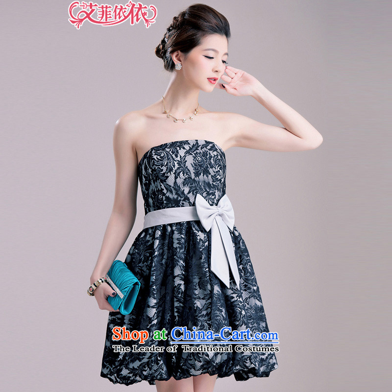 Of the short name of the glued to the yuan lace lanterns small dress�2015 Korean marriage banquet bon bon foutune Bow Ties With chest chaired dress�code 5503 Skirt Gray L