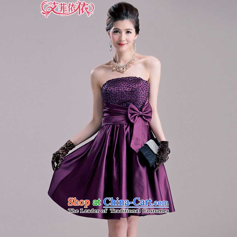 Glued to the Eiffel bow tie with chest large host?Korean dress 2015 short of marriage plain manual banquet beaded dresses dress 5504 deep purple?XL code