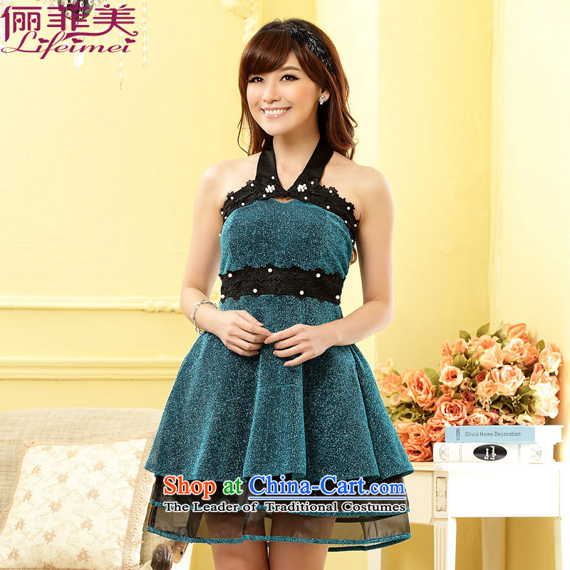 Li and the large number of ladies mini nightclubs a booking Pearl Top Loin thin waist multi-tier bare shoulders small dress show the skirt blue XL 115-135 for a catty