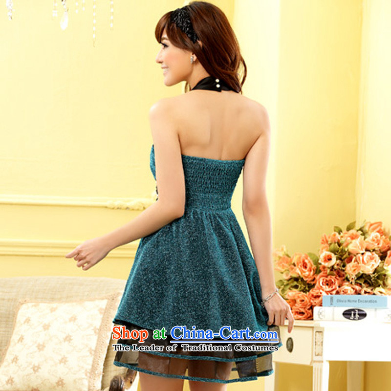Li and the large number of ladies mini nightclubs a booking Pearl Top Loin thin waist multi-tier bare shoulders small dress show the skirt blue XL suitable for 115-135, 158 and shopping on the Internet has been pressed.