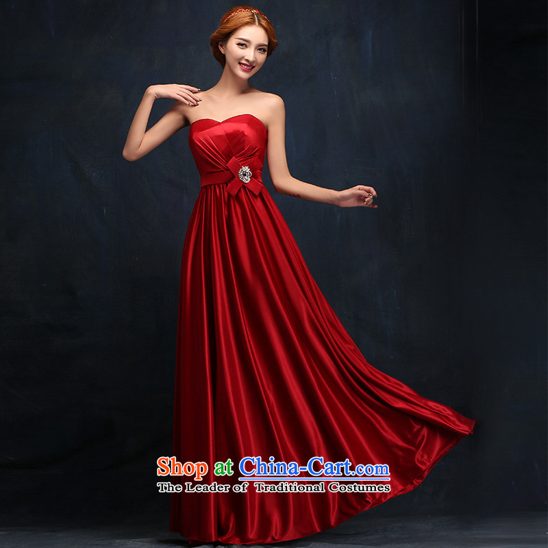 2015 new marriages bows services wine red and stylish Zip Top Loin of chest pregnant women dress tailored consulting customer service