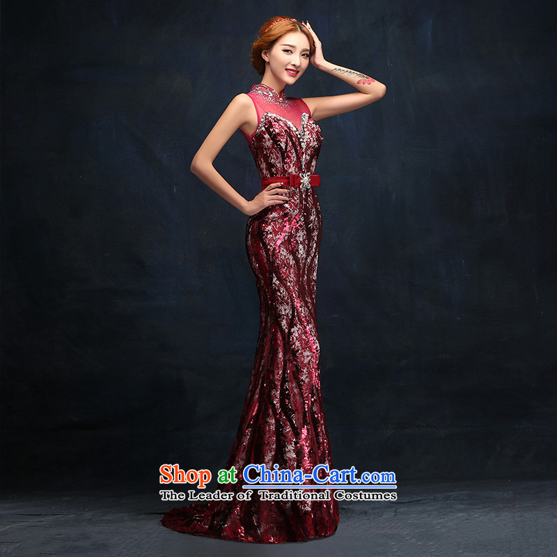 2015 New Sau San video thin crowsfoot evening dresses wine red bride wedding dress bows serving long tailored consulting customer service