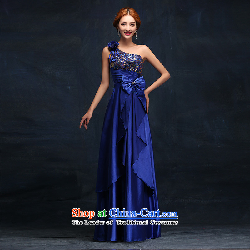 2015 new marriages long blue shoulder banquet performances moderator evening dress?M