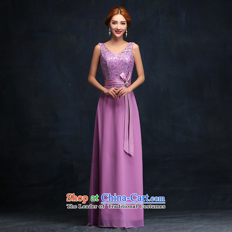 Bridesmaid dress long 2015 new Korean zipper purple bridesmaid to mission service dress bride bows聽S