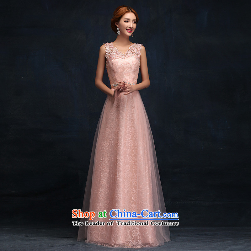 According to Lin Sa 2015 new stylish marriages bows service long shoulders lace pink dress bridesmaid auspices�M