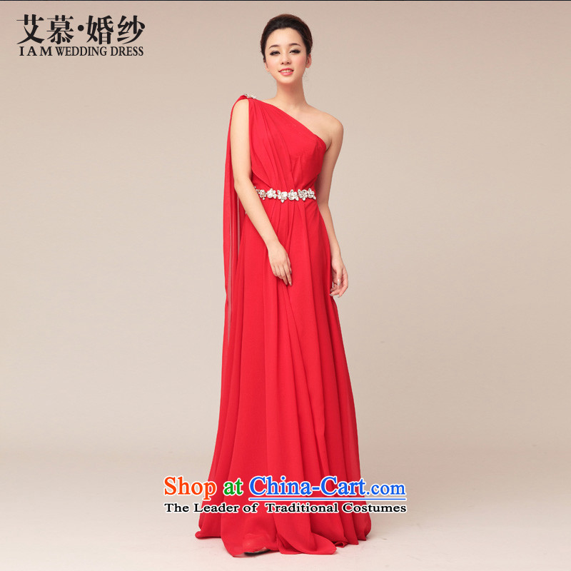 The 2015 new HIV wedding Greece wind red dress marriage shoulder evening dress bridesmaid bride bows large red�L