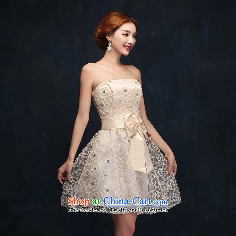 According to Lin Sha 2015 new bridesmaid Dress Short of Korean married bows to champagne color and chest small dress skirt summer?S