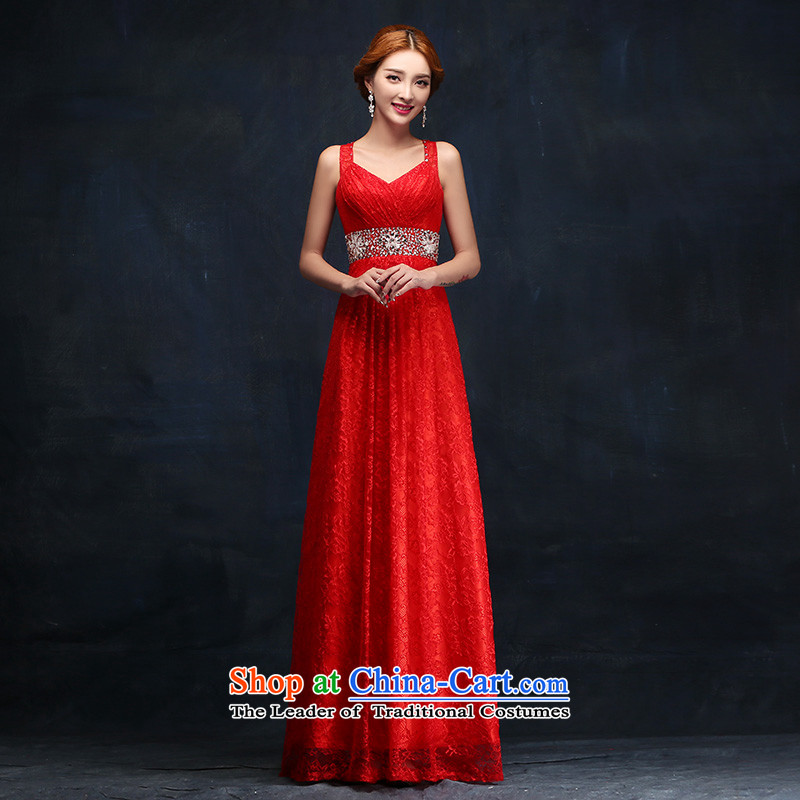 The bride dress new 2015 Red long female evening dress uniform dress bows marriage?XL