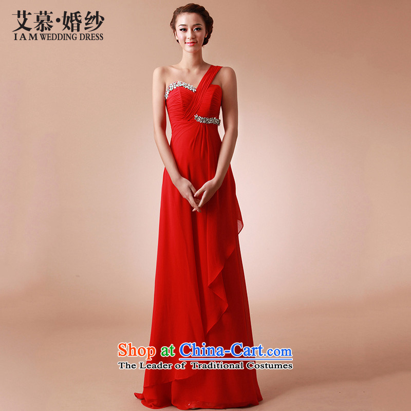 The?2015 new HIV red silk rumblings of sweet red single shoulder length_ bridesmaid bows dinner dress large red?S